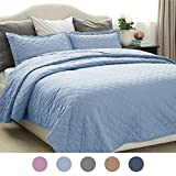 Bedsure 3-Piece Bedding Quilt set Blue King size 106x96 Bedspread with 2 Pillow Shams Pattern Soft Microfiber Coverlet set