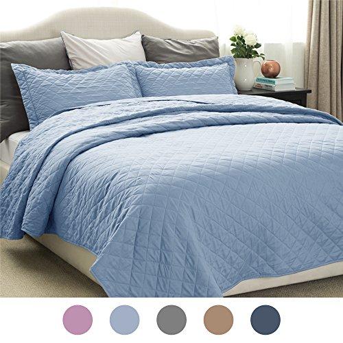 Bedsure Quilt Set Solid Carolina Blue Twin Size 2 Piece Cove
