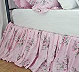 Shabby Rose Printed Bed Skirts Pink Dust Ruffles Bedskirt