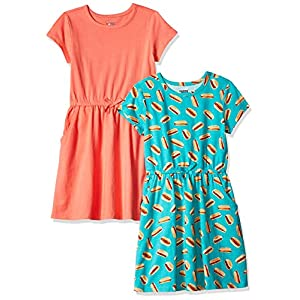 Amazon Brand – Spotted Zebra Girls' Toddler & Kids 2-Pack Knit Short-Sleeve Cinch Waist Dresses