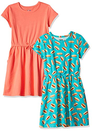 Spotted Zebra Little Girls' 2-Pack Knit Short-Sleeve Cinch Waist Dresses, Hot Dog/Coral, X-Small (4-5)
