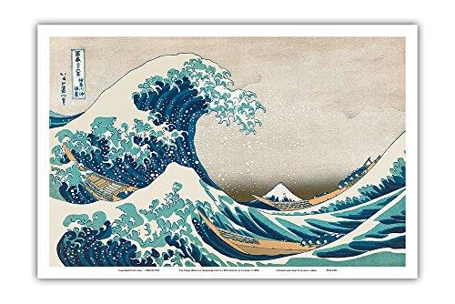 The Great Wave Off Kanagawa - Thirty-six Views of Mount Fuji - Ukiyo-e Woodblock Print by Hokusai c.1830s - Master Art Print - 12in x 18in (Thirty Six Views Of Mount Fuji Prints)