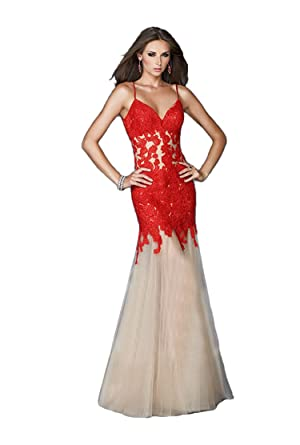Felaladress Womens Long Red Sweetheart Lace Size 6-30 Prom Dresses