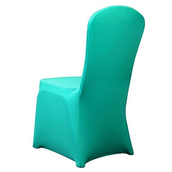 HAORUI Conjunto de Cubiertas Spandex Stretch Arqueado Chair de 4 Modernas Fundas de poliéster Lycra Silla para Bodas Evento Aniversario Dinning ...
