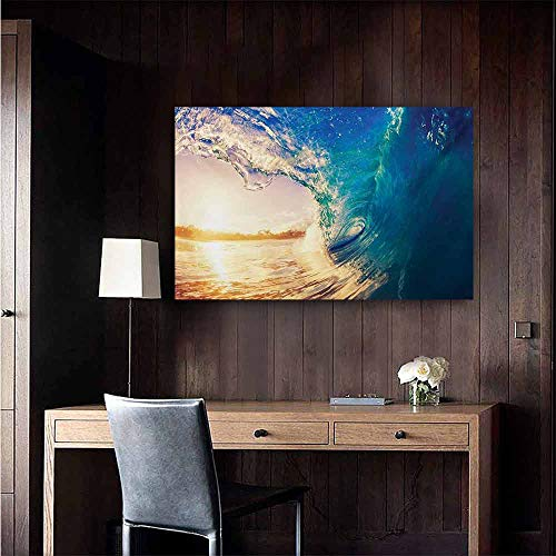- duommhome Ocean Abstract Painting Ocean Wave at Sunrise Reflection on Surface Tropical Trees Shoreline Summer Picture Natural Art 35