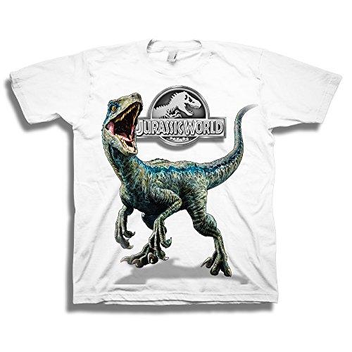 Jurassic World Boys Little 2 Blue Raptor Short Sleeve T-Shirt, White, 4