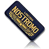 "[Single Count] Custom, Cool & Awesome {4'' Inches} Rectangular Tactical Morale ''USCESS Nostromo'' Star Ship Alien Cosplay Costume (Entertainment Fashion) Hook Fastener Patch ""Blue & Yellow"" {LICENSED}"