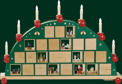 Candle arch Advent calendar electric light arch Seiffen 48cm Ore Mountains NEW