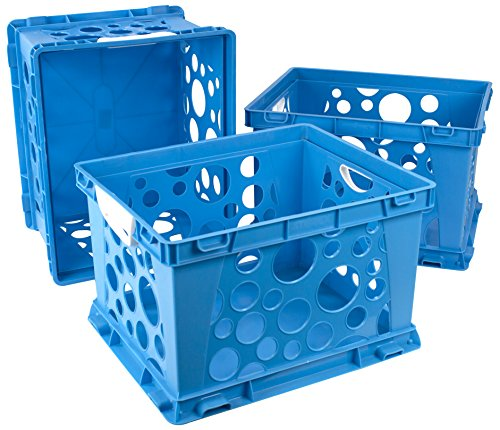 Comfort Crate - Storex Large Storage and Filing Crate with Comfort Handles, 17.25 x 14.25 x 10.5 Inches, Blue/White, Case of 3 (STX61767U03C)
