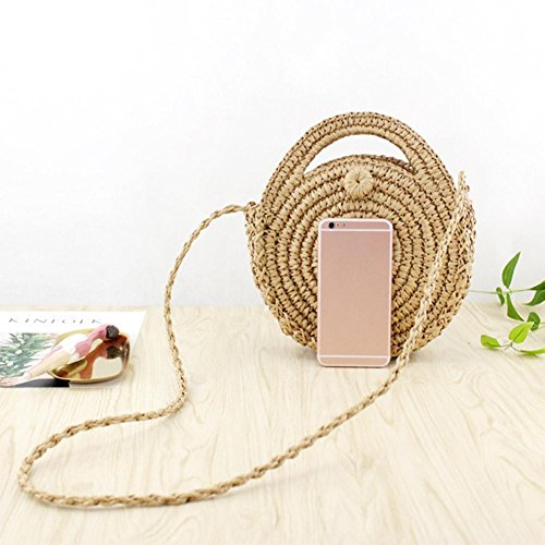 Crossbody Zipper Travel Light Handbags Prosperveil Bag Shoulder Straw Beach Brown Retro Women Round gOZ1fOn