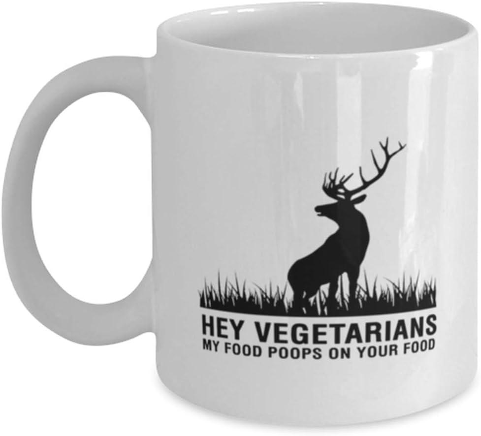 Hunter Funny Coffee Mug - Hey Vegetarians My Food Poops On Your Food