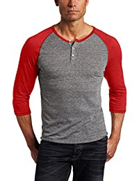 Men's Raglan 3/4 Sleeve Henley Shirt