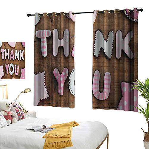 Luckyee Thermal Insulating Blackout Curtain,Thank You,55