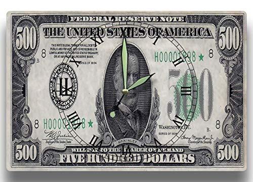 1934 Federal Reserve Note - Customized William McKinley Money Clock Depression Era United States Federal Reserve Series 1934 500 Dollar Bill Note 8 x 12 clock American President