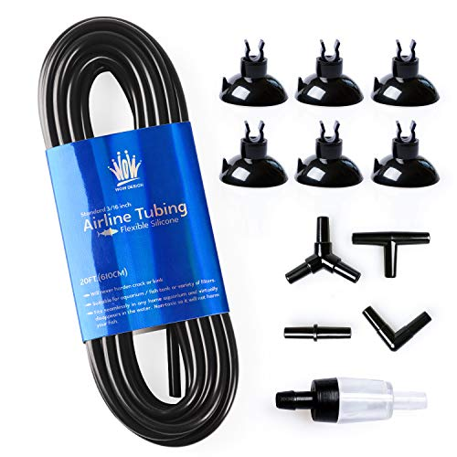 WOW Design 3/16-Inch Professional Flexible Silicone Airline Tubing Standard Aquarium Air Pump Accessories with Check Valves, Suction Cups and Connectors, 20 Feet (Clear-Black) (Black Aquarium Airline Tubing)