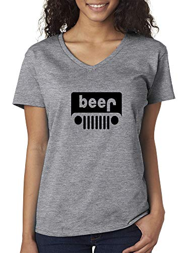 Trendy USA 1174 - Women's V-Neck T-Shirt Beer Jeep Funny Drinking Large Heather Grey