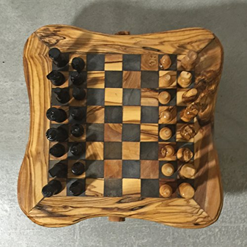 Chess Game Set from Olive Wood with hand carved pieces, s...
