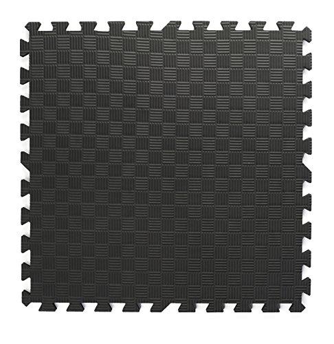 Displays2go Interlocking Anti-Fatigue Tiles Puzzle Foam Mats (Set of 13), Black