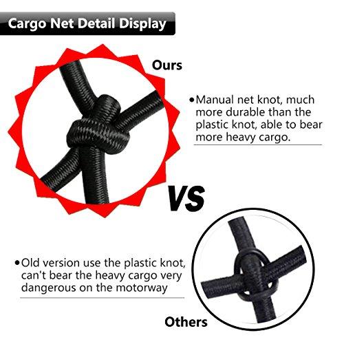 "EZYKOO [Upgrade] Bungee Cargo Net Bungee Cord 47"" x 36"" Heavy Duty Truck Bed Net Auto Roof Tie-Down Net with 14 Hooks"