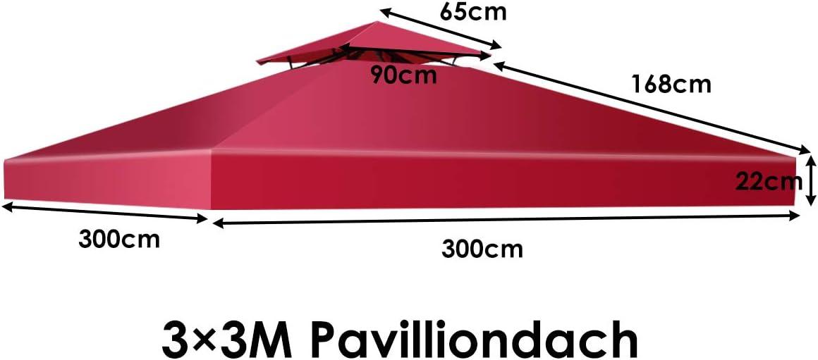 COSTWAY Tetto di Ricambio per Gazebo da Giardino Copertura di Ricambio Gazebo 3 x 3 m Vino Rosso