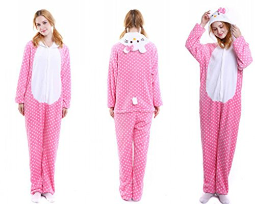 Indiefit Adults Onesie Pyjamas Flannel Animal Cosplay Costume Hoodie Sleepwear nightgown for womens gilrs pink hello Kitty-M