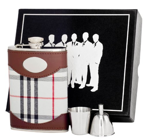 8-Ounce Plaid Visol VSET62-1274 Tobias Leather and Groomsmen II Flask Gift Set