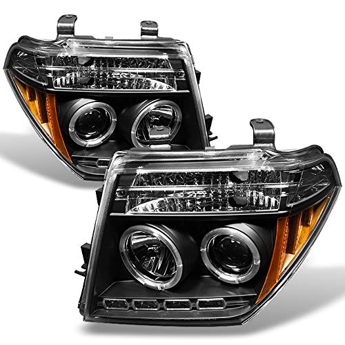 Projector Headlights Set - For 05-08 Frontier / 05-07 Pathfinder Black Bezel Dual Halo Ring Projector LED Headlights Driver Passenger Set