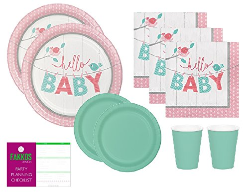 Gender Neutral Baby Shower Supplies - Pink And Mint Green Dinner or Luncheon Plates, Appetizer or Dessert Plates, Cups And Napkins Serves 24 Guests