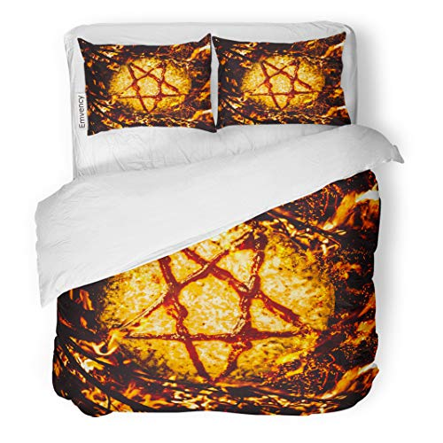 Semtomn Decor Duvet Cover Set Twin Size Saucery in Satanic Star Burning Occult Ritual of Pizza 3 Piece Brushed Microfiber Fabric Print Bedding Set Cover -