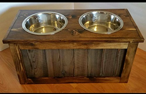 Raised dog feeder with storage by LilBitRustic