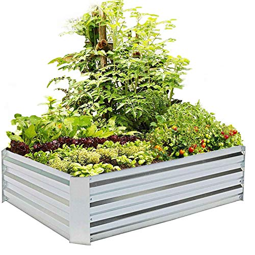 FOYUEE Metal Raised Garden Bed Kit Elevated Planter Box Outdoor Patio Frame for Vegetables 4' x 3' x 1', Grey