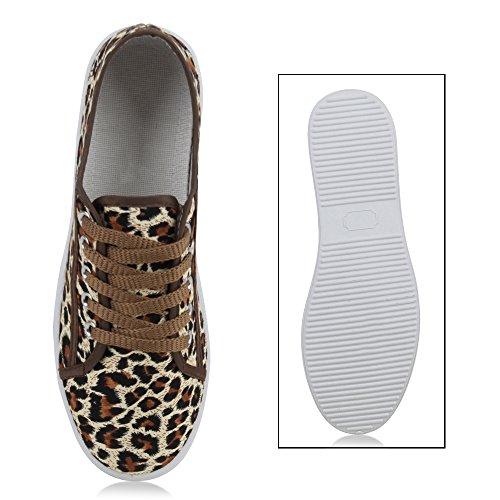 Stiefelparadies Basic Damen Sneakers Sneaker Low Spitze Stoffschuhe Schnürer Freizeitschuhe Flandell Leopard Avelar