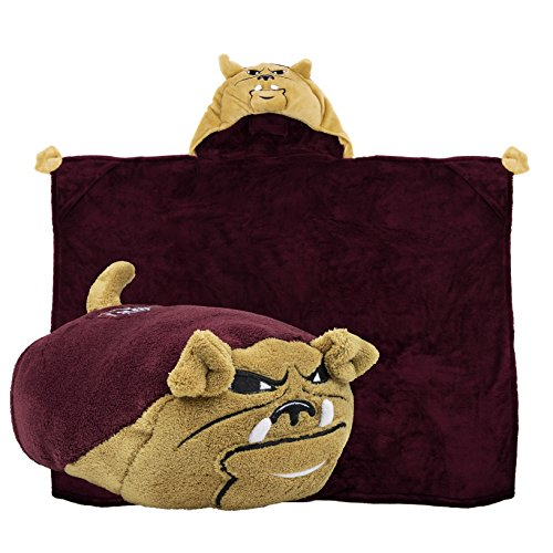 Comfy Critters Stuffed Animal Blanket - College Mascot, Mississippi State University 'Bully' - Kids Huggable Pillow and Blanket Perfect for The Big Game, Tailgating, Pretend Play, Travel & Much - Mississippi University Colleges