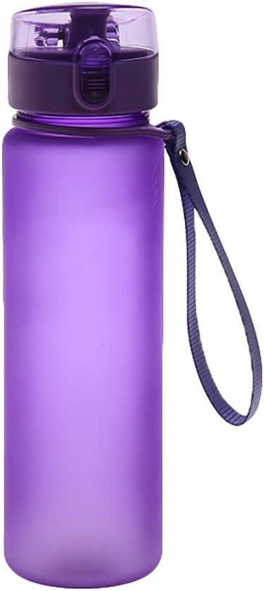 Enticerowts - Botella de agua deportiva (400 ml/560 ml, a prueba de fugas, sin BPA, para gimnasio, ciclismo, correr, se abre con 1 clic, tapa abatible con cierre, color Morado, tamaño 400 ml