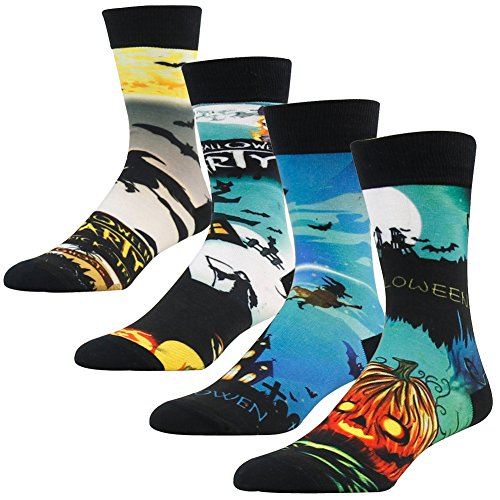 Halloween Themed Gifts, SUTTOS Unisex 4 Pairs Crazy Wonder Fun Cool Weird Zombie Wizard Bat Graveyard Jack-O-Lantern Pumpkin Nightmare Patterned Casual Crew Socks with Gift Box Deals Socks