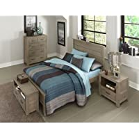 NE Kids Highlands Alex Full Panel Bed in Driftwood