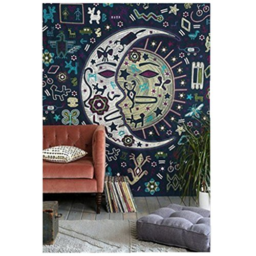 Jiamingyang Popular Indian Wall Hanging Elephant Flower Tapestry Psychedelic Bohemian Tapestries  Small 59  X 51   Moon