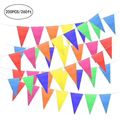 Outdoor Pennant Banner (Unomor 260Feet Multicolor Pennant Banner Bunting Flags for Party Decorations, Birthday, Festivals)