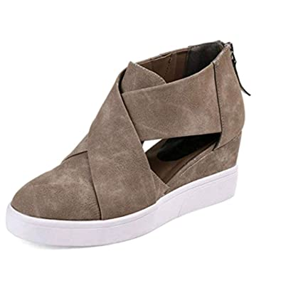 171b91e69 Amazon.com | DecoStain Women's Concise Criss-Cross Cut-Out Wedge Sneakers  Comfortable Back Zipper Shoes | Fashion Sneakers