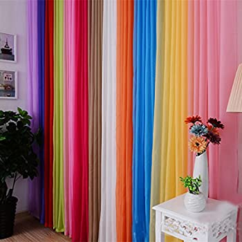 curtains for living room windows simple voberrytm solid color 200x100cm ready made sheer curtain living room window pc yellow g amazoncom piece rainbow panel set blow out