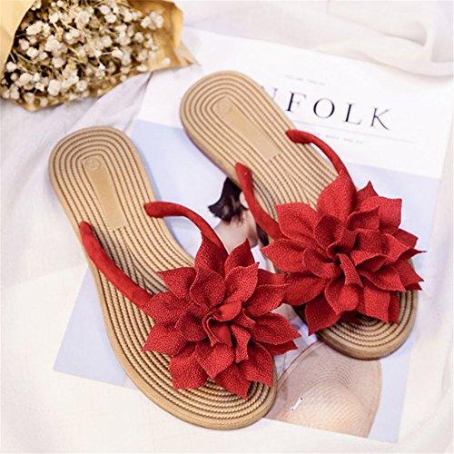 Verano Toe de chanclas UN Verde Tela mujer exterior Negro para Rojo Zapatos Zapatillas Comfort Flores 2018 y Open caminar SHINIK para Zapatos Beige w6qFpn5xX