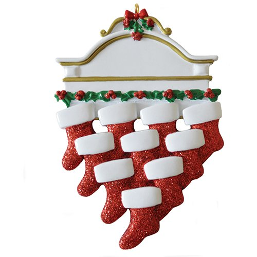 Personalized White Mantle Family of 10 Christmas Ornament for Tree 2018 - Garnished Fireplace Glitter Stockings - Parent Children Friend Winter Activity Tradition Grand-kid - Free Customization (Ten)