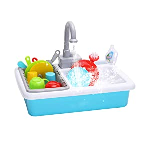 WISHTIME Kitchen Sink Toys Pretend Play - Dishwasher Playing Toy with Running Water Wash Up Kitchen Toys Pretend Role Play Toys for Boys Girls Toddlers