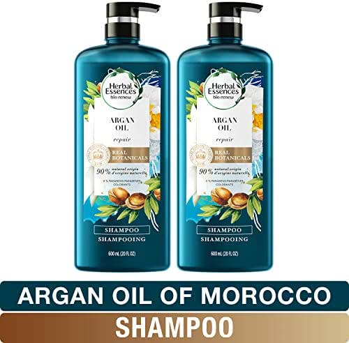 Herbal Essences, Repairing Argan Oil Of Morocco Shampoo With Natural Source Ingredients, Color Safe, BioRenew, 20 fl oz, Twin Pack