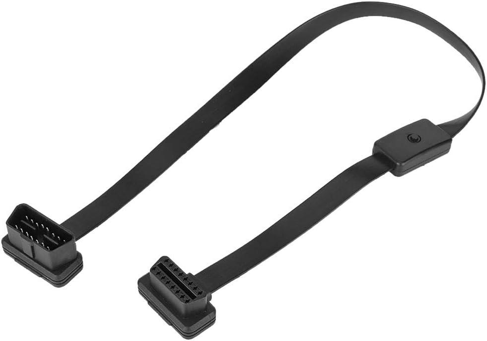 Qiilu 16 Pin Stecker Auf Buchse Obd2 Verlängerungskabel Adapter Stecker Mit On Off Schalter Auto