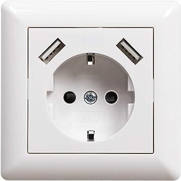 Enchufe de pared con USB 2.8A Schuko Enchufe Blanco Superficie ...