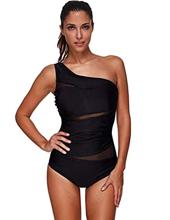 2f12a6cc13 FeelinGirl Women's Off-Shoulder Swimwear Monokini Swimsuit One Piece Plus  Size Swimming Costume Black M