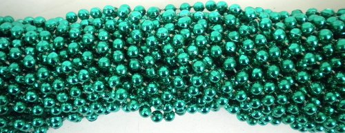 - 33 inch 07mm Round Metallic Green Mardi Gras Beads - 6 Dozen (72 Necklaces)