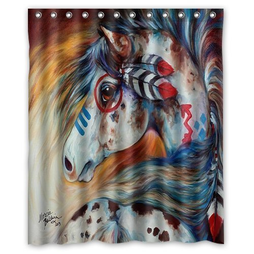 """Unique and Generic Spirit Indian War Horse The Gift Watercolor painting Custom Printed Waterproof fabric Polyester Shower Curtain 60""""(w) x 72""""(h) Inches-Bathroom Decor"""