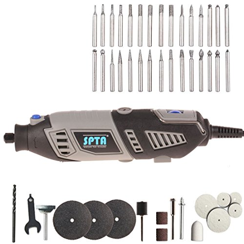 SPTA 110V 190W Variable Speed Rotary Tool Electric Mini GRINDER With 30Pcs Diamond Burrs And 15Pcs Rotary Tools Accessries For Woodworking, Carving, Engraving, Drilling